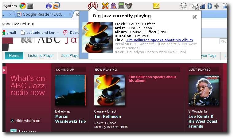DIG Jazz now-playing Gnome applet V3