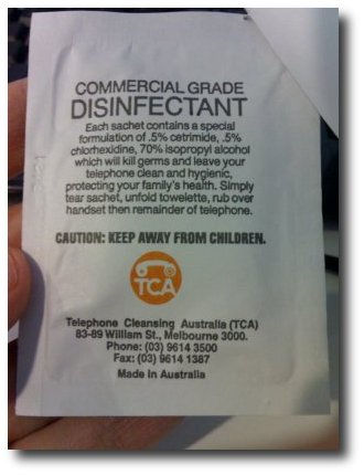 Telephone Disinfectant, back
